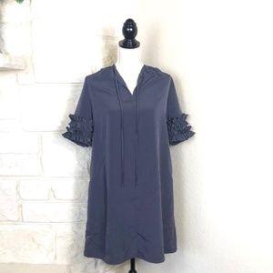 NWT Gray Ruffle Sleeve dress
